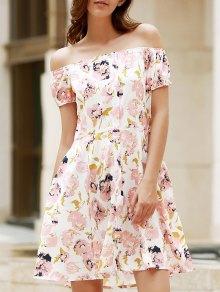 Floral Off The Shoulder Short Sleeve Dress