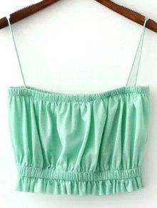 Solid Color Spaghetti Straps Crop Top