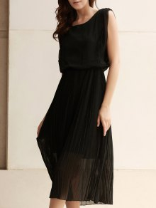 Solid Color Maxi Pleated Dress