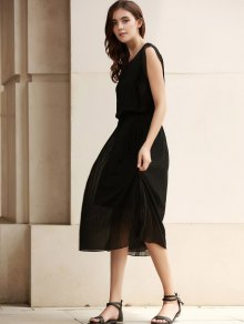Solid Color Maxi Pleated Dress - BLACK M