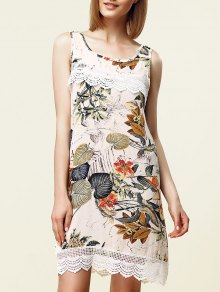 Sweet Sleeveless Lace Embellished Floral Women's Dress - White M