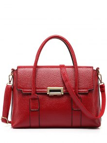 Buy Metal Hasp Solid Colour Tote Bag - WINE RED