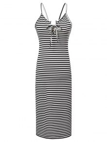 Striped Lace-Up Cami Sleeveless Dress