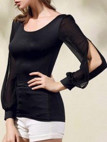Chiffon Spliced Scoop Neck Long Sleeve T-Shirt