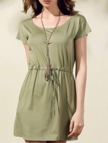 Drawstring Scoop Neck Short Sleeve Dress