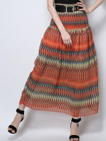 Zig Zag Print High Waist  Skirt - Orange M