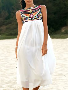 Sleeveless Embroidery Round Neck Dress