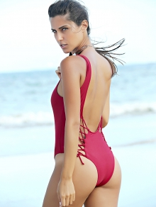Pure Color Lace Up U Neck One-Piece Swimwear - Wine Red
