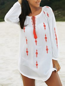 Embroidered White Irregular Dress - White