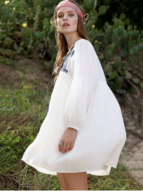 Embroidery Long Sleeve Round Neck Swing Dress - WHITE S Mobile
