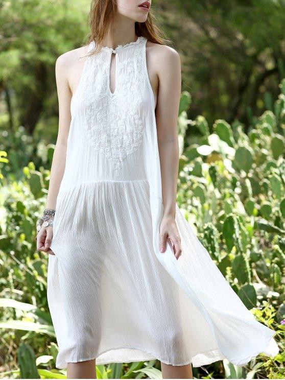 أبيض فضفاض الديكور تغرق العنق فستان بلا أكمام - أبيض S