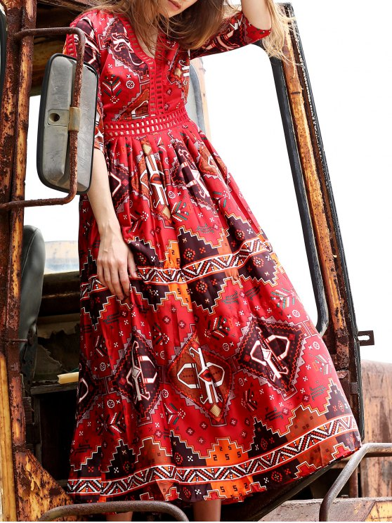 affordable Ethnic Style Printed Plunging Neck 3/4 Sleeve Dress - RED S