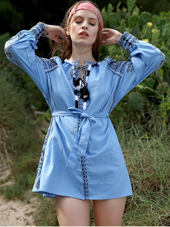 Embroidery Round Neck Lantern Sleeve Belted Dress - LIGHT BLUE S Mobile