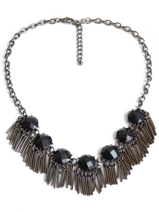 ladies Black Acrylic Alloy Fringed Necklace - GUN METAL