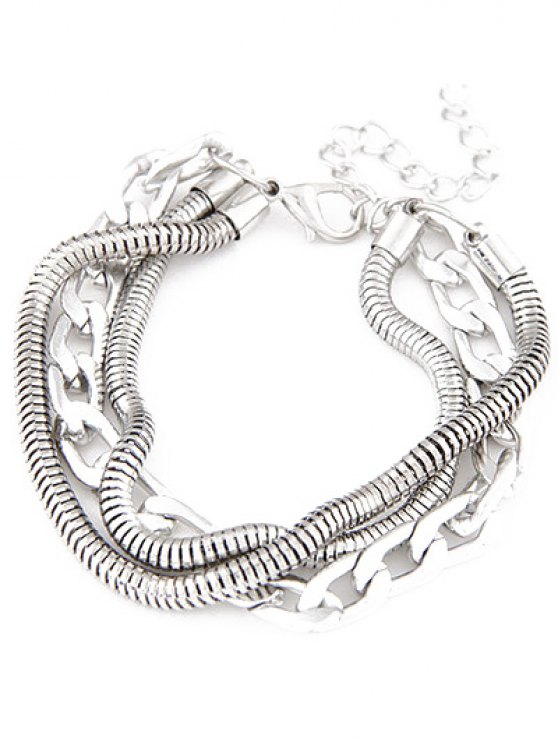 Punk Style Multilayered Bracelet - SILVER  Mobile