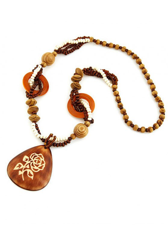 Rose Wood Beaded Sweater Chain - BROWN  Mobile