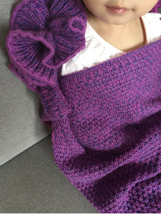 Knitted Falbala Mermaid Tail Blanket - VIOLET  Mobile