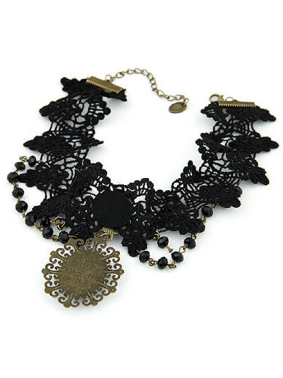 Baroque Black Faux Gem Lace Necklace - BLACK  Mobile