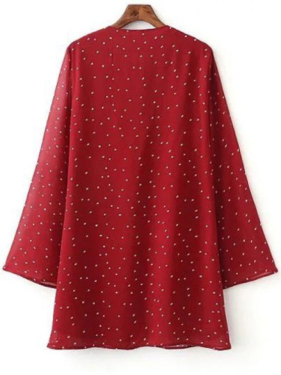 Lace-Up Stars Print Red Dress - RED L Mobile