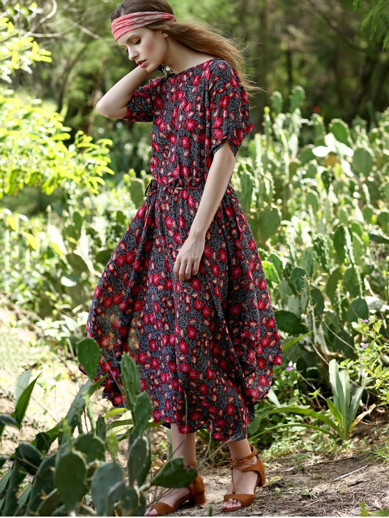 Floral Print Midi Dress With Sleeves - RED M Mobile