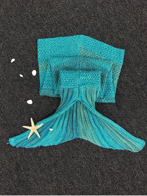 Stripe Knitted Mermaid Tail Blanket - COLORMIX  Mobile