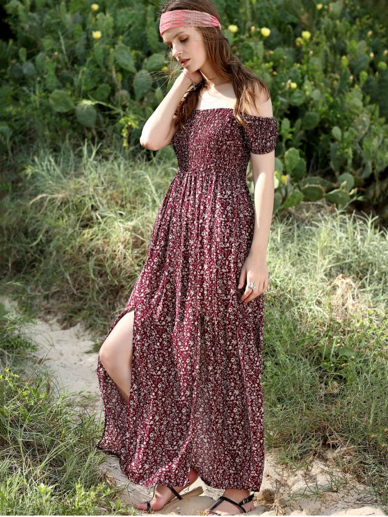Slit Off The Shoulder Short Sleeve Maxi Dress - WINE RED M Mobile