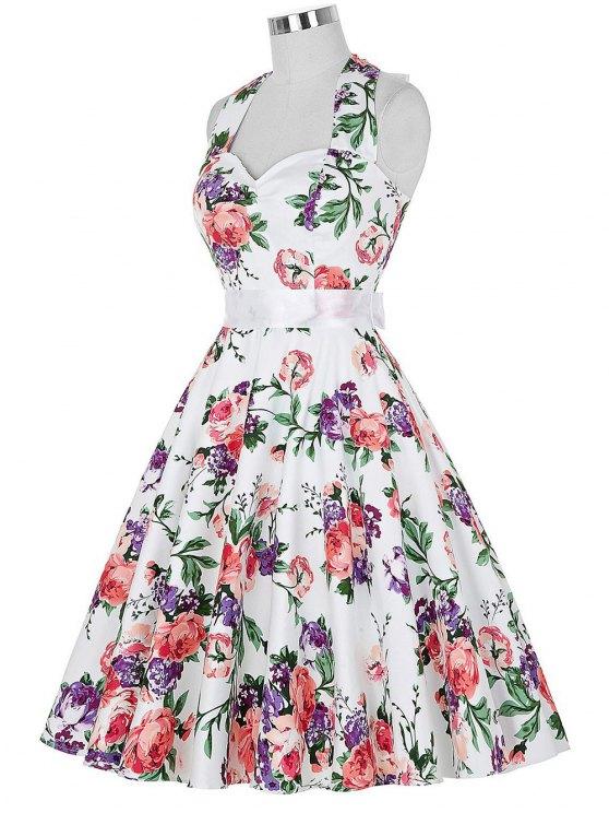 Completo cabestro vestido floral de la llamarada de la vendimia - Colormix 2XL