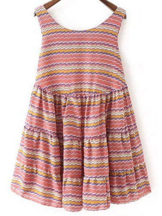 Striped Tiered Sundress - RED M Mobile