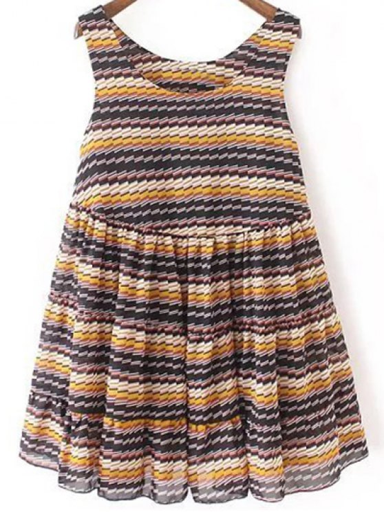 Striped Tiered Sundress - Bleu L