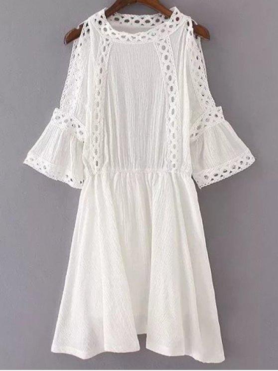 shop Cutout Shoulder Patchwork Dress - WHITE S