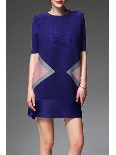 Robe à Manches Mi-Color Block A Ligne - Bleu-violet