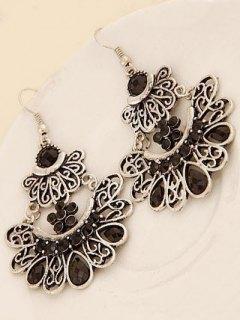 Rhinestone Baroque Earrings - Black
