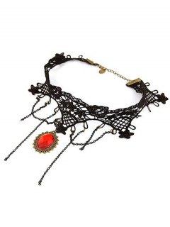 Baroque Tassels Faux Gem Lace Necklace - Black
