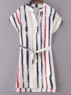 Striped Dress With Belt - White M