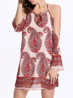 Paisley Print Cami Cut Out Dress - L