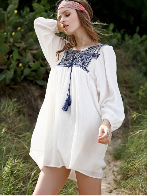 chic Embroidery Long Sleeve Round Neck Swing Dress - WHITE L Mobile