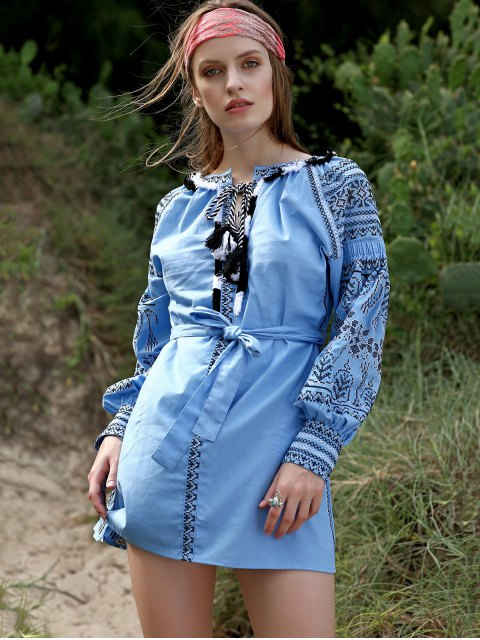 buy Embroidery Round Neck Lantern Sleeve Belted Dress - LIGHT BLUE S Mobile