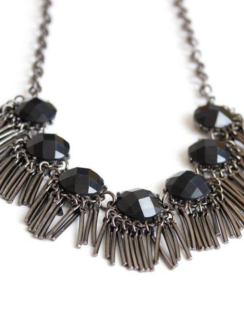 ladies Black Acrylic Alloy Fringed Necklace - GUN METAL  Mobile