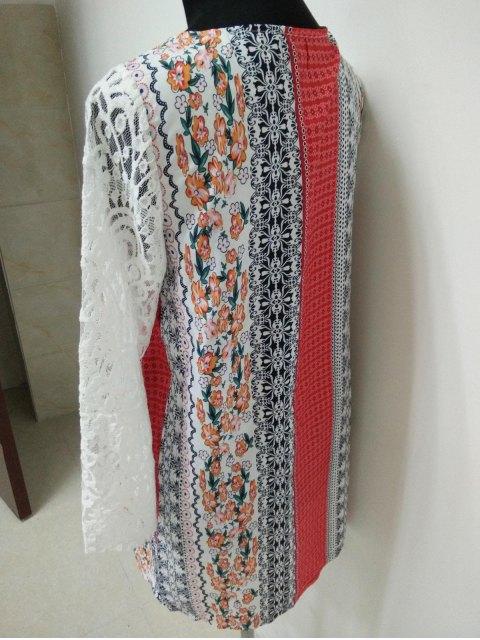 affordable Lace Splice Plunging Neck Bohemian Dress - COLORMIX S Mobile