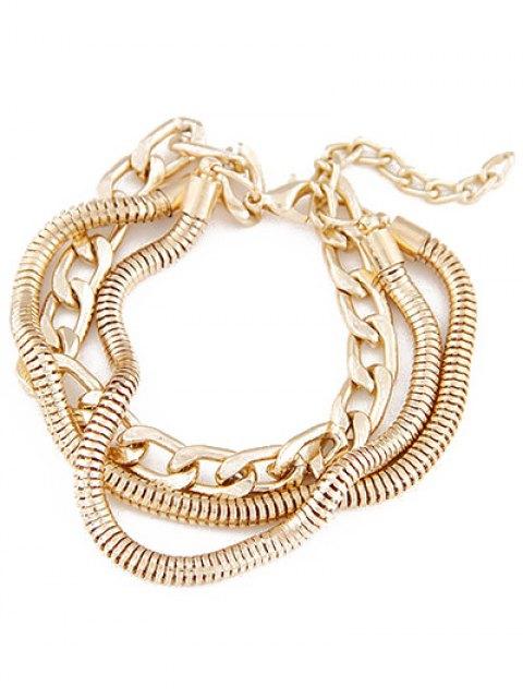 lady Punk Style Multilayered Bracelet - GOLDEN  Mobile