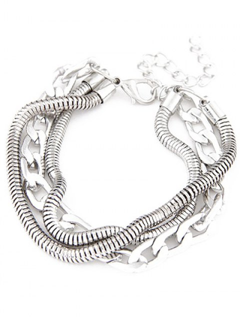 best Punk Style Multilayered Bracelet - SILVER  Mobile