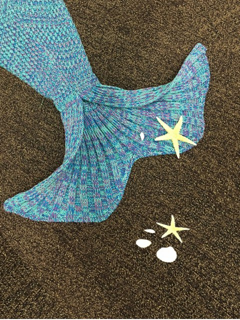 trendy Knitted Mermaid Tail Blanket - COLORMIX  Mobile