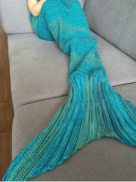 best Stripe Knitted Mermaid Tail Blanket - COLORMIX  Mobile