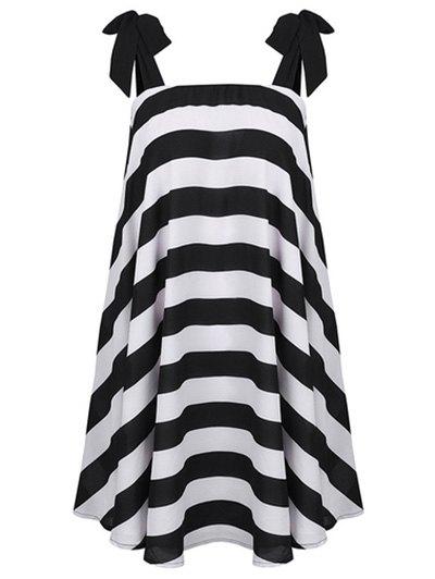 Tie Shoulder Strap Dress - White And Black