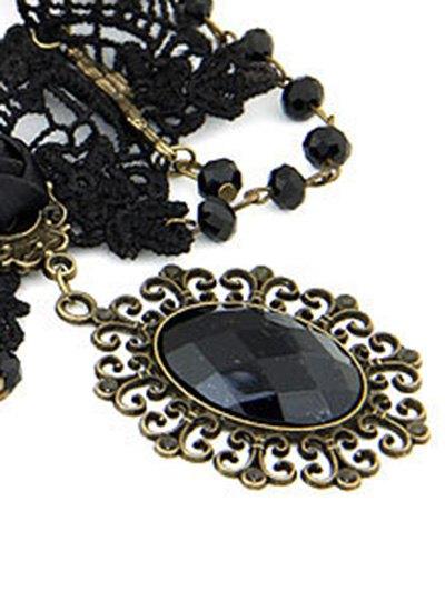 Baroque Black Faux Gem Lace Necklace - BLACK  Mobile