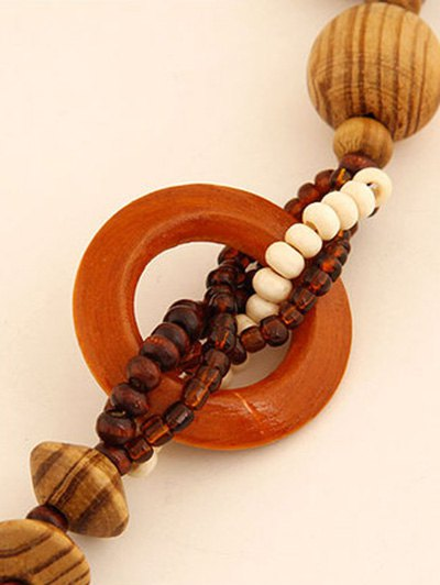 Flower Wood Beaded Sweater Chain - BROWN  Mobile