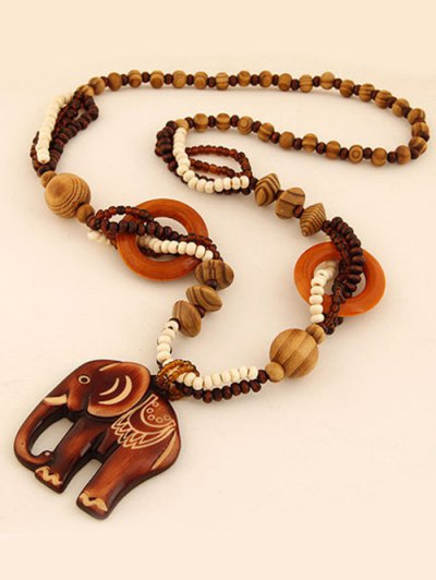 Elephant Wood Beaded Sweater Chain - BROWN  Mobile