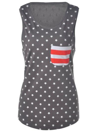 U Neck American Flag Tank Top - Gray