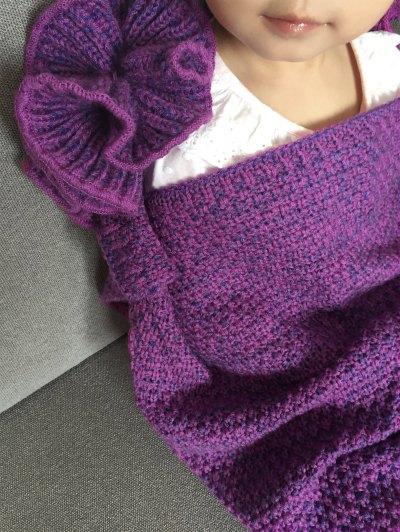 Knitted Falbala Mermaid Tail Blanket - VIOLET  Mobile