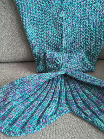 Knitted Mermaid Tail Blanket - COLORMIX  Mobile
